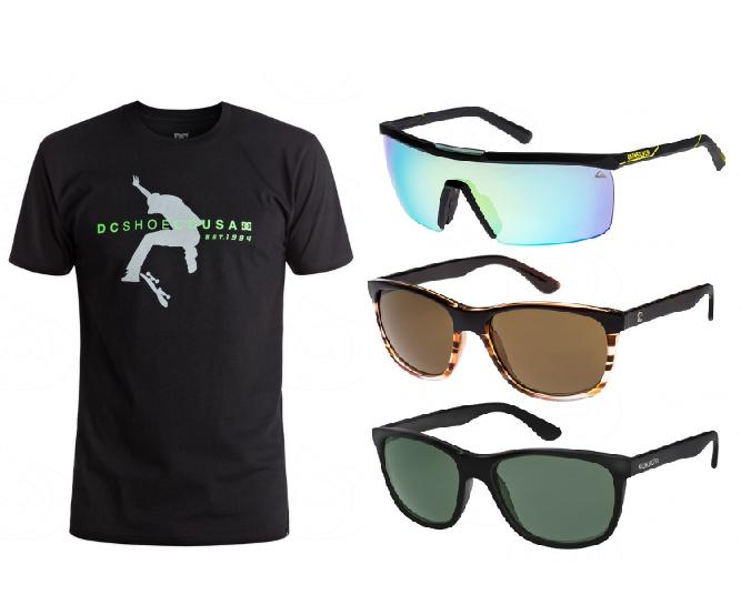 2x Camisetas DC 25€ y gafas de sol Quiksilver y Roxy 35€