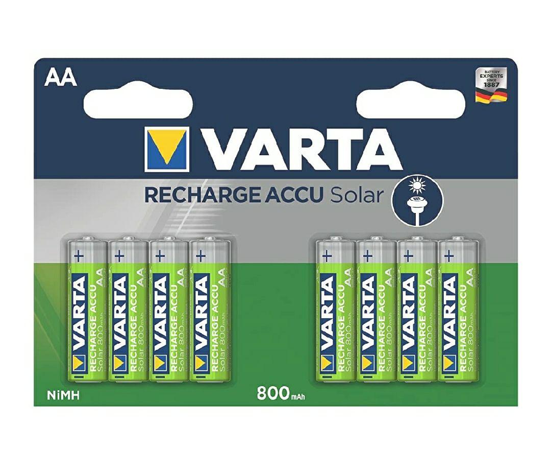 VARTA Solar - Pack de 8 Pilas AA Recargables