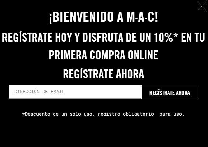 10% de descuento en tu primera compra en MAC Cosmetics