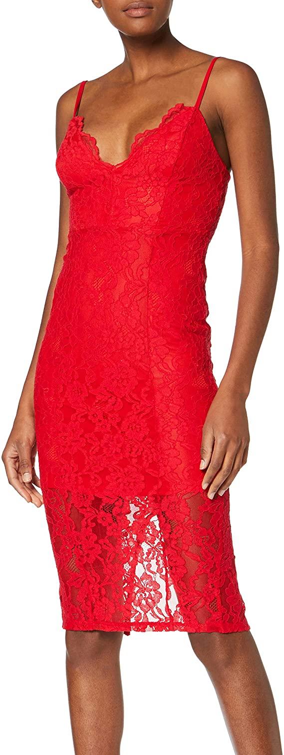 New Look Boost Scallop, Body para Mujer, Talla 36, Rojo