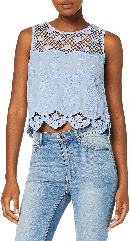 New Look Cindy Crochet Blusa para Mujer, en azul y talla 36
