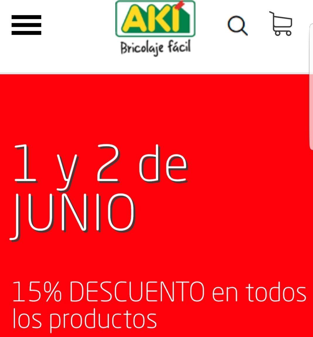 15% en toda la tienda 1 y 2 de junio