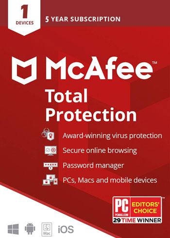 5 años de licencia McAfee Total Protection