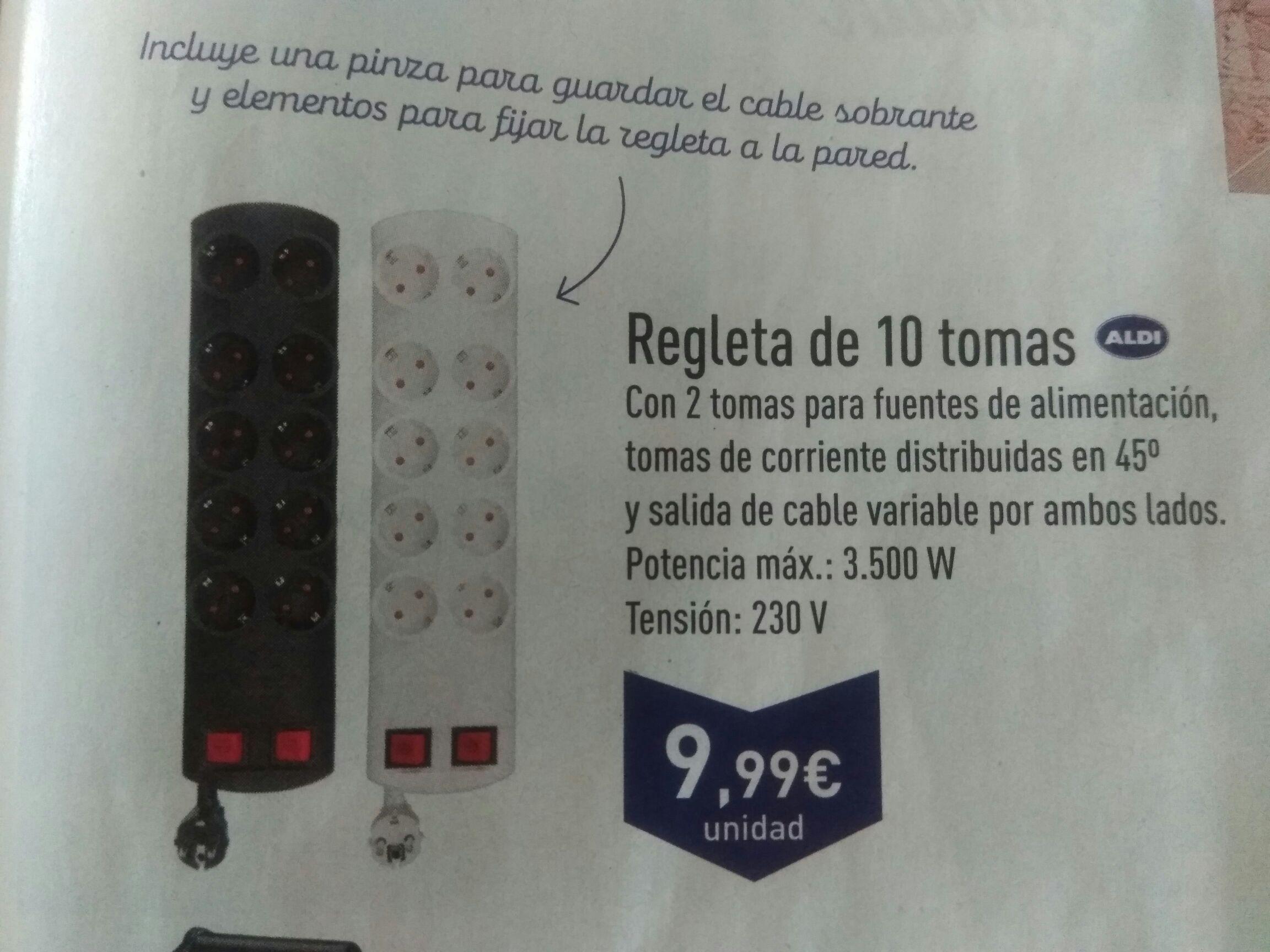 Regleta de enchufe de 10 tomas, 3500W Supermercados Aldi