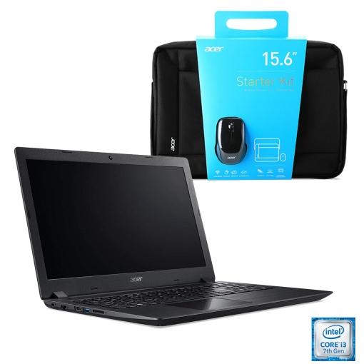 Portátil Acer Aspire 3 - i3-7020U, 4GB DDR4, 128GB SSD + Maletín y Ratón