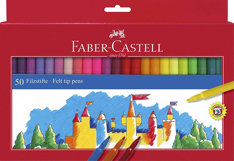 Faber-Castell 554250 - Estuche 50 rotuladores con punta de fibra