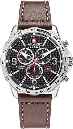 Swiss Military - Reloj de pulsera de cuarzo para hombre con esfera negra, cronógrafo y correa de piel marrón