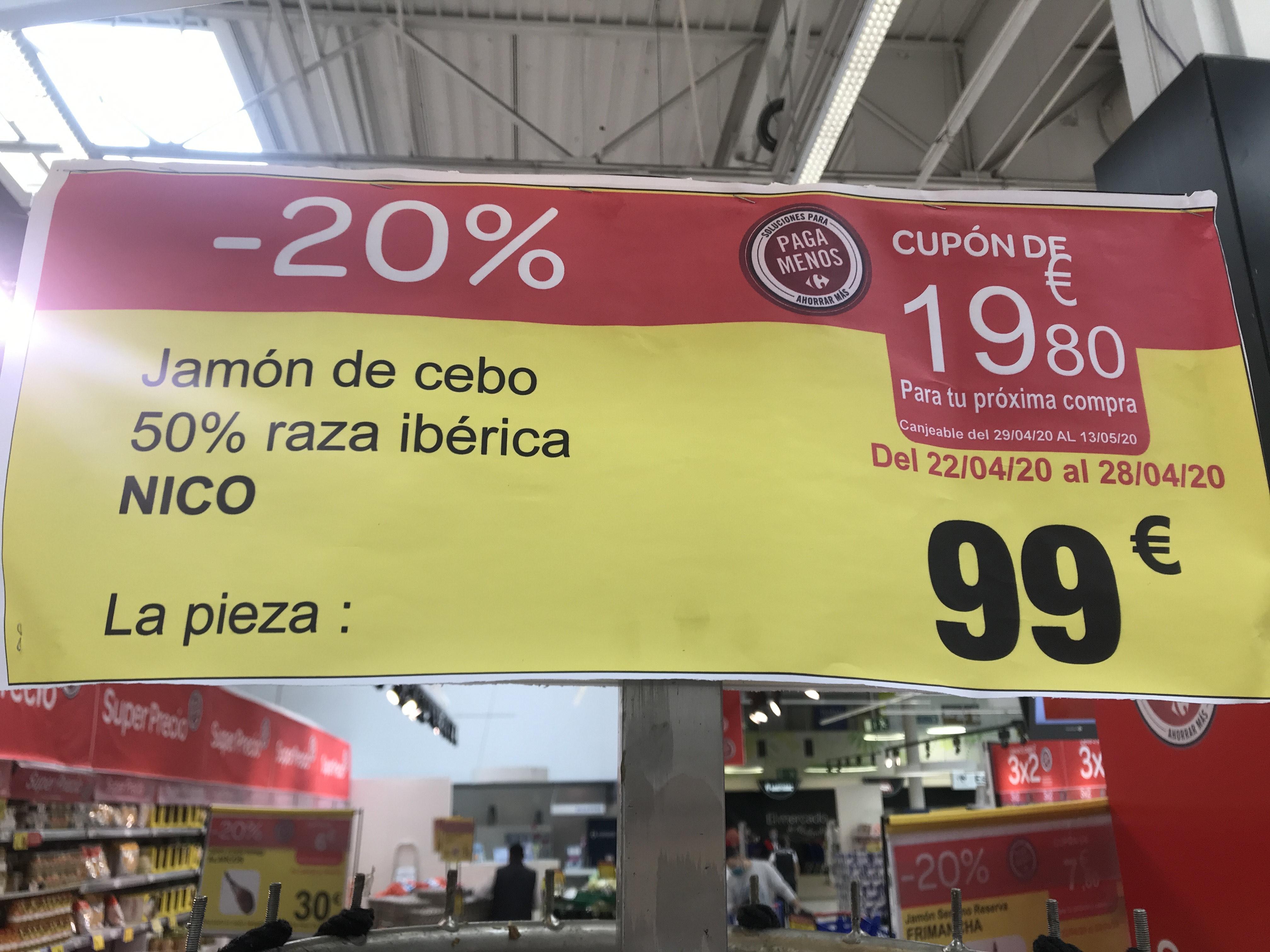 Jamón de cebo 50% ibérico + cupón de 19,80€