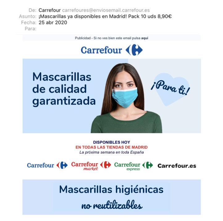 [ACTUALIZADO] Mascarillas desechables Carrefour 6€ pack 10 unidades (0,60€/unidad)