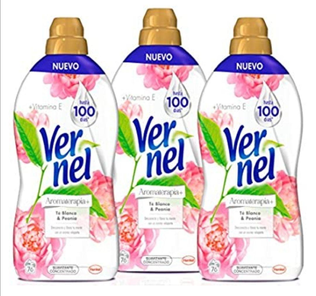 Vernel Aromaterapia Suavizante Lavadora Concentrado Té y Peonía - Pack de 3, 1, 748 l cada uno