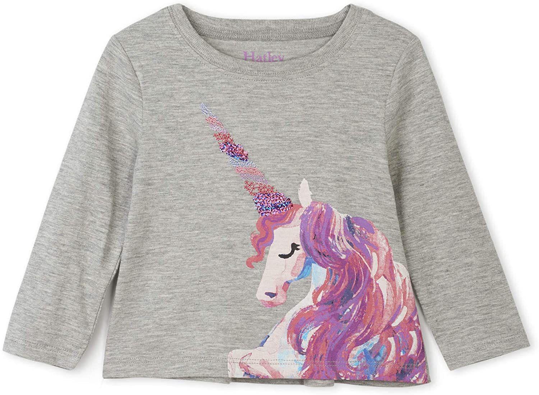 Camiseta para bebés manga larga Hatley, gris estampado, talla de 9 a 12 meses.
