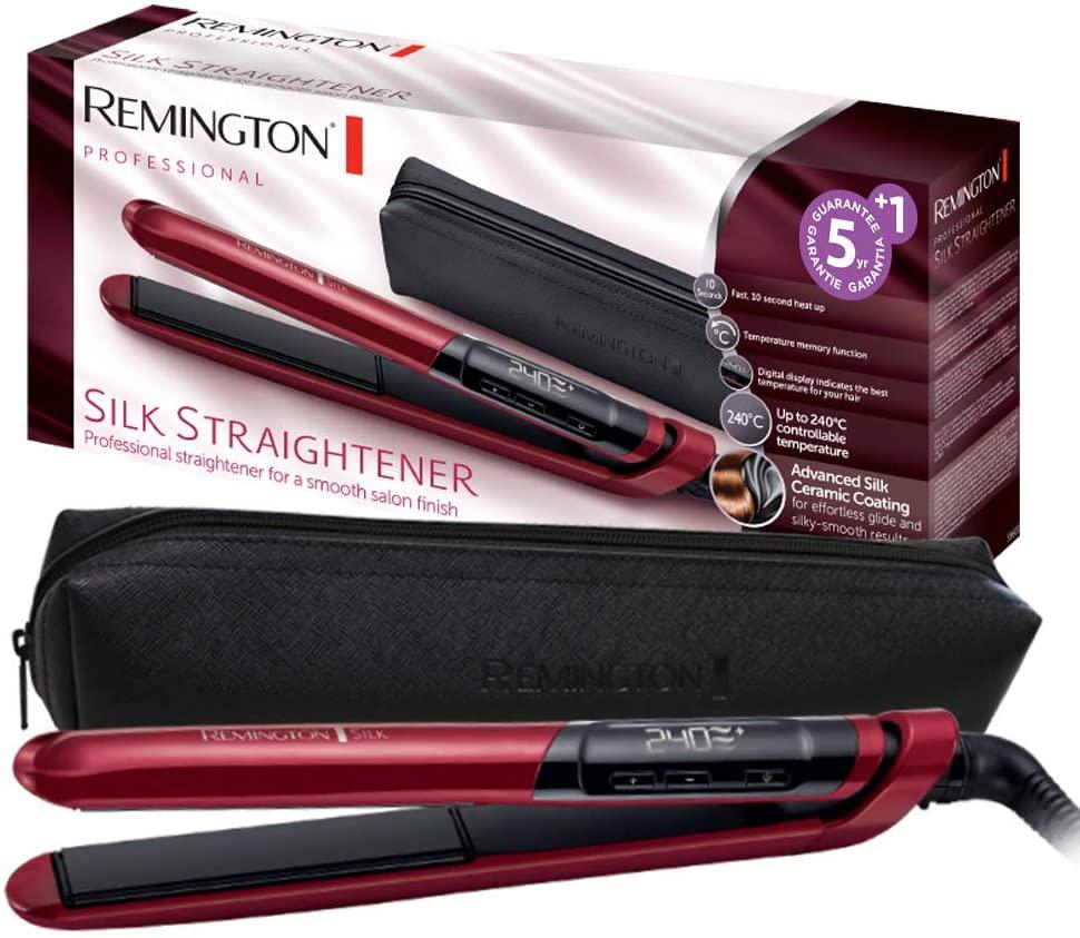 Remington S9600 Silk - Plancha de Pelo, Cerámica, Digital, Placas Flotantes Extralargas (REACO Como NUEVO)