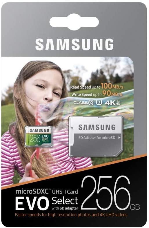 Samsung EVO Select -microSDXC de 256 GB perfecta para 4k y video 360