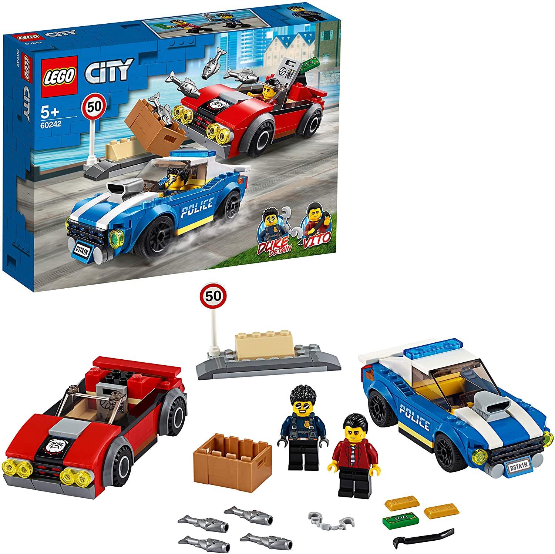 LEGO City Police - Policía: Arresto en la Autopista, Set de Construcción Inspirado Serie de Televisión, Incluye 2 Personajes, Coche Policía