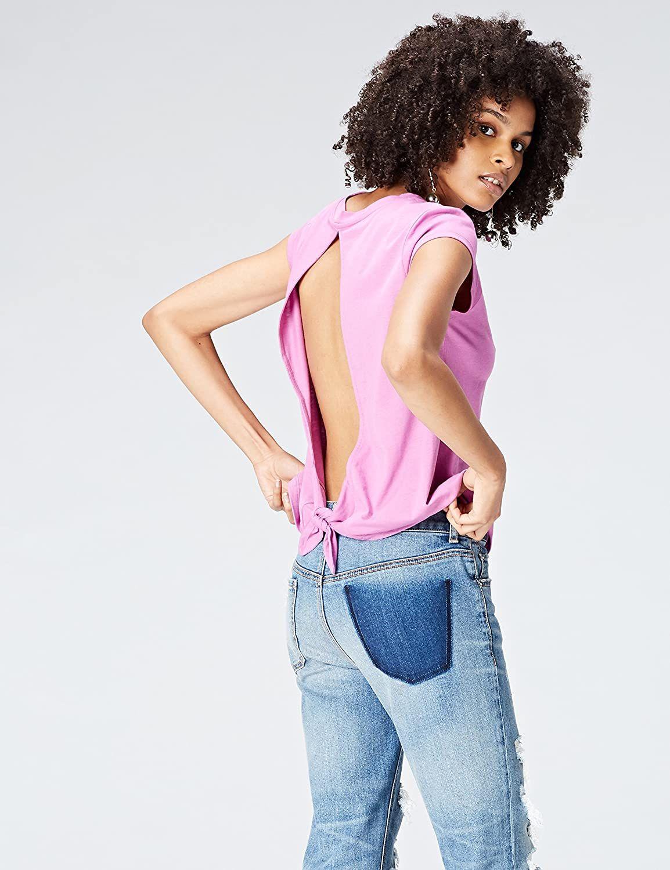 Camiseta rosa de mujer abierta por atrás, talla 42, con código.