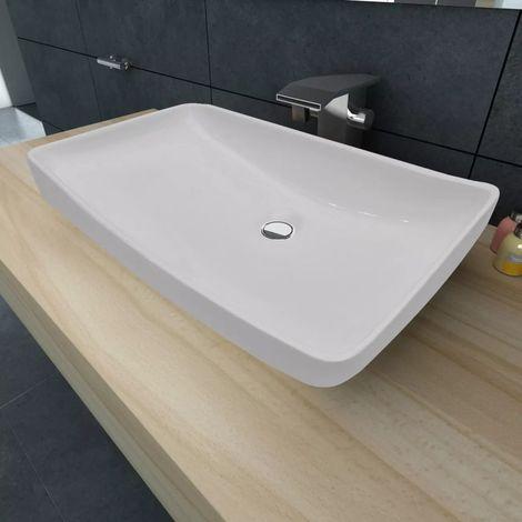 Lavabo Cerámico Lujoso En Forma Rectangular Blanco 71 x 39 Cm
