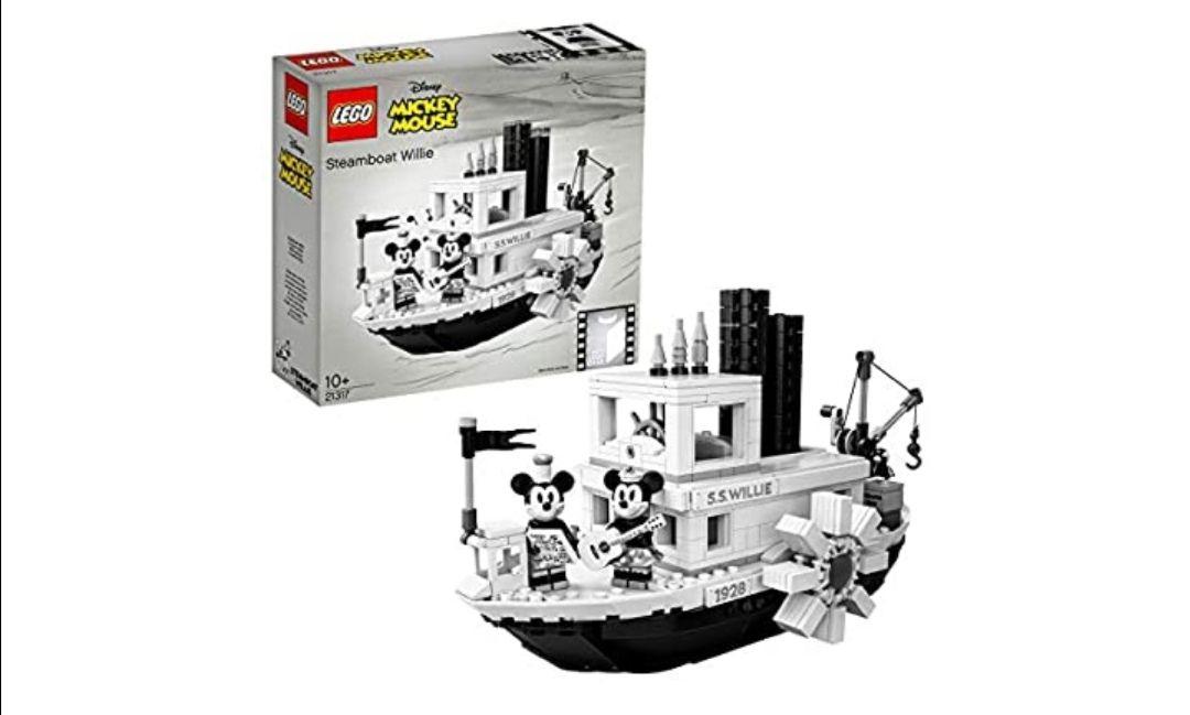 LEGO Ideas - El Botero Willie, Juego de Construcción del Barco Clásico de Vapor Inspirado en el Corto de Animación de Disney