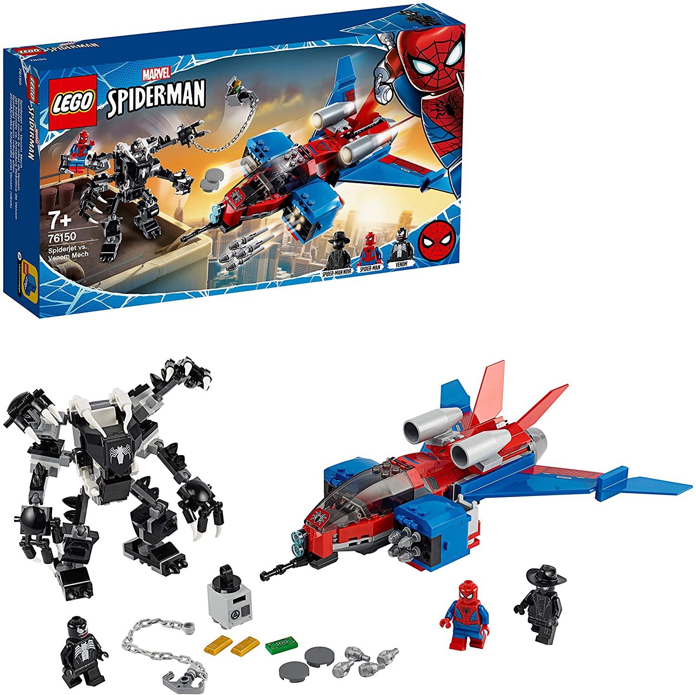 LEGO Super Heroes - Spiderman - Jet Arácnido vs. Armadura Robótica de Venom, Incluye Minifiguras de Spider-man y Spider-man Noir