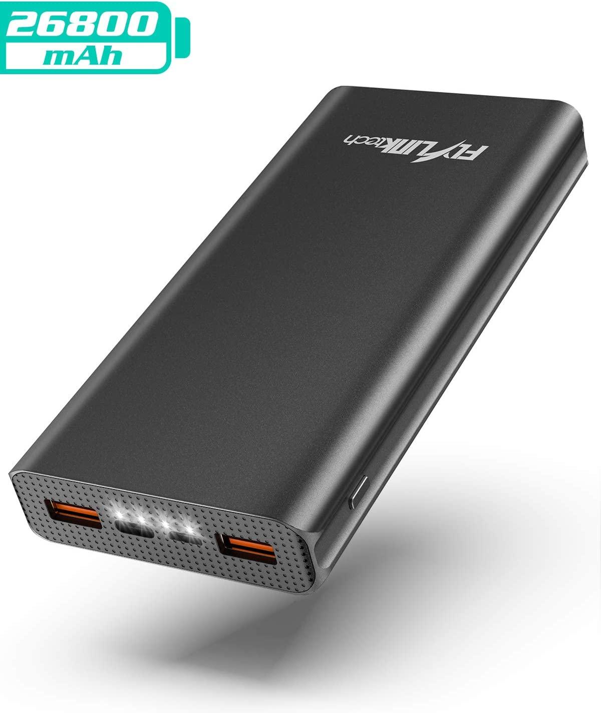 Muy buena oferta con cupón: Batería FLYLINKTECH externa 26800mAh QC 3.0 Power Bank con USB-C PD