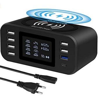 Estación de Carga USB 8 Puertos QC3.0+Type-C+Inalámbrica