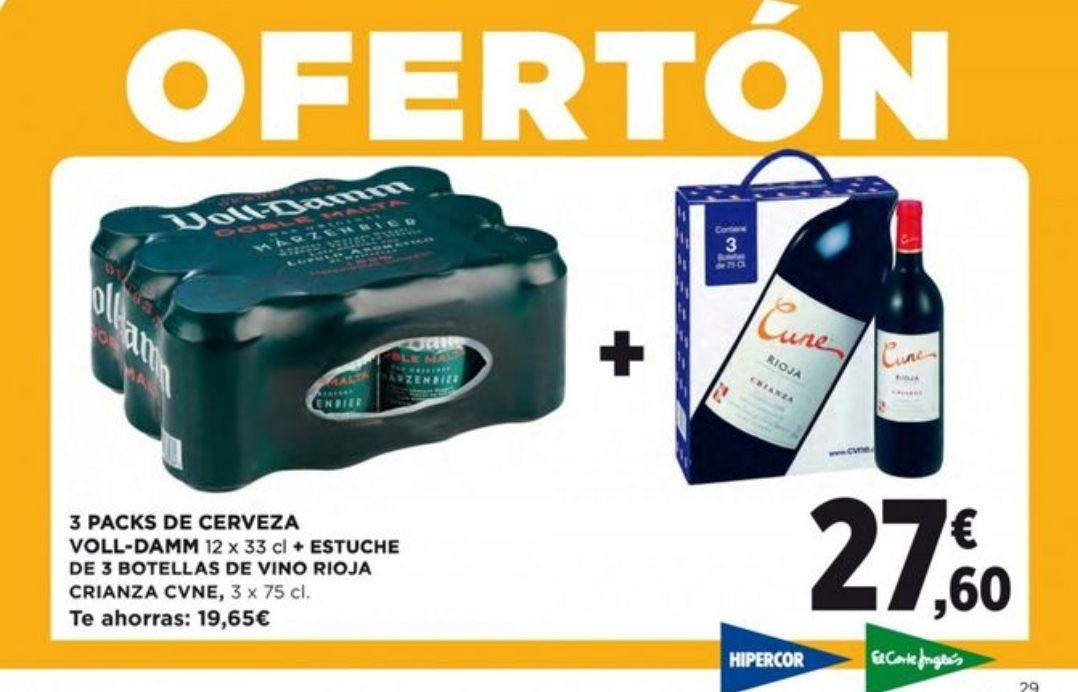 3 Pack (12x33cl/36 ud) Voll Damm + Estuche 3 botellas(75 cl) de Vino Crianza