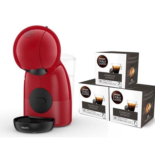 Pack Krups Nescafé Dolce Gusto Piccolo XS Roja + 3 Packs de Café Espresso Intenso
