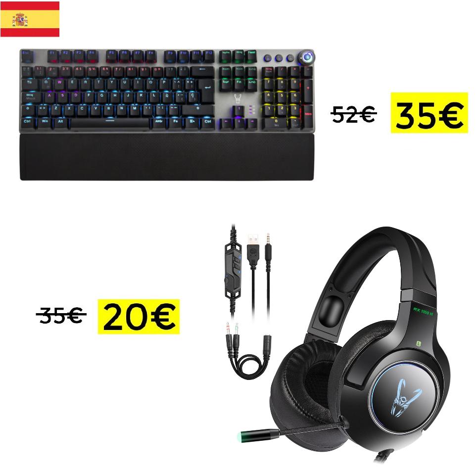 Teclado mecánico Woxter 35€ // Auriculares gaming Woxter 20€ [Desde España]