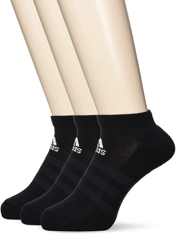3 pares de calcetines deportivos en negro Adidas, de talle bajo, para niños, talla KM. LEER TEXTO.
