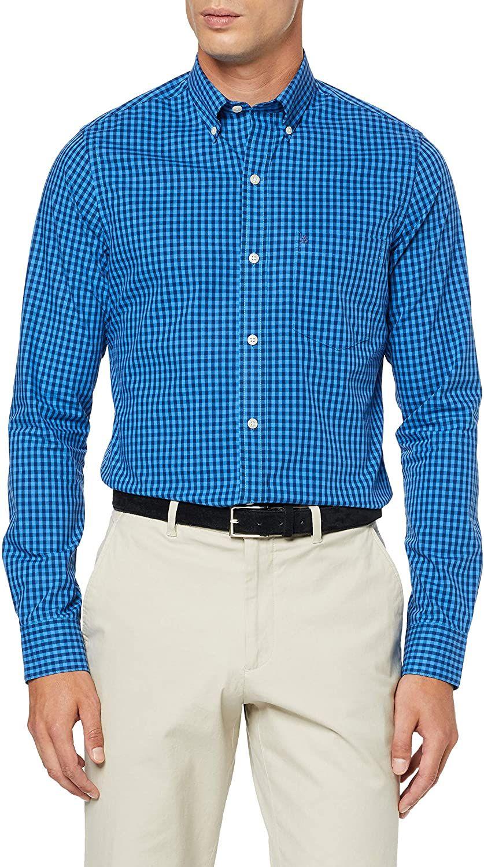 Izod Gingham BD Shirt Camisa Casual para Hombre, talla 44 (Talla del fabricante LG)
