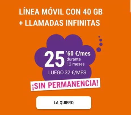 Yoigo Linea con 40GB + Llamadas infinitas Durante 12 meses [25.60 €/mes] Regalan samsung a20e