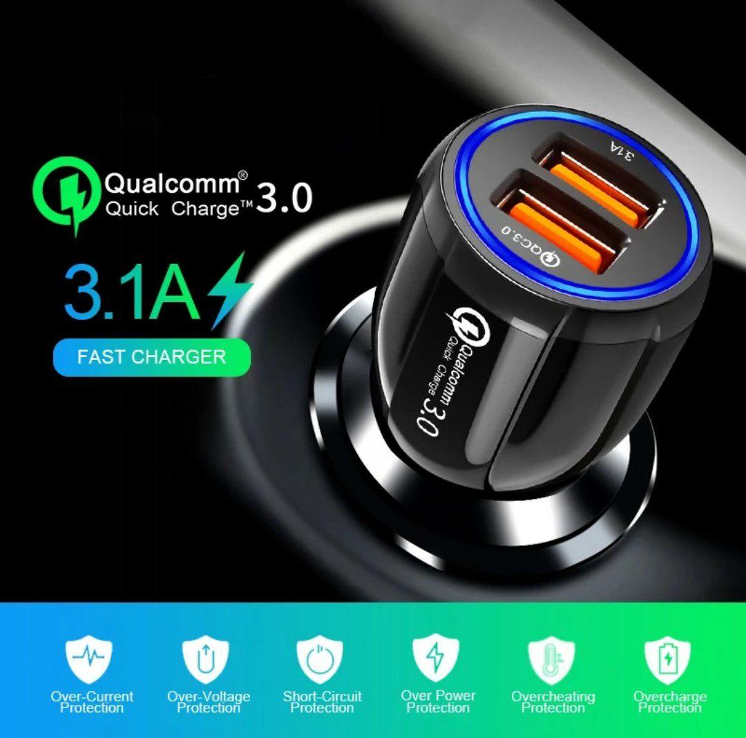 Cargador coche Quick Charge 3.0