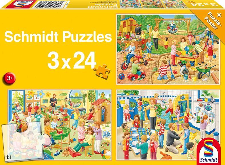 Schmidt un día en la guardería - Puzzle Set (3 x 24 Piezas)