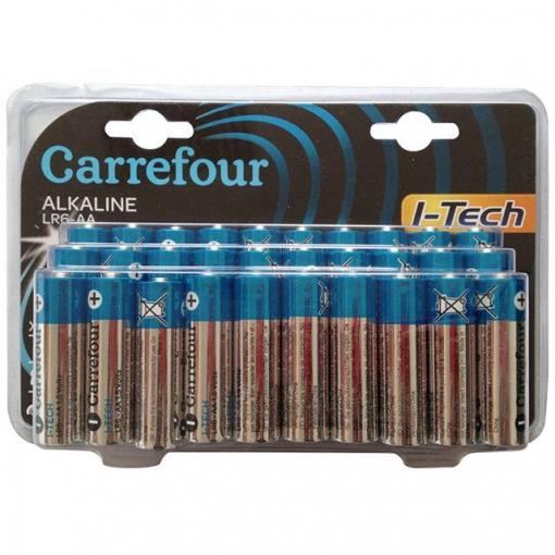 30 pilas alcalinas AA/AAA Itech Carrefour 6.50€