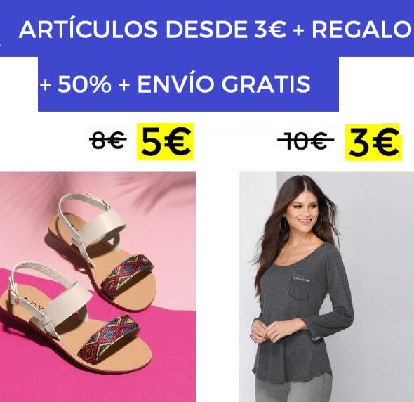Artículos desde 3€ + 50% + regalo + envío gratis