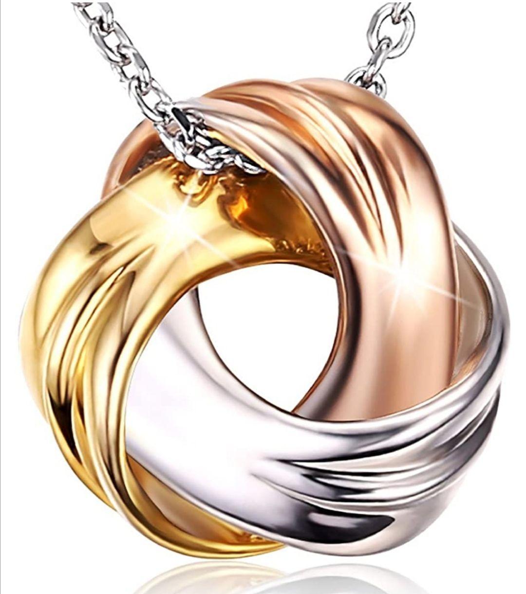 """Collar de plata 925 """"Occhi d´Athena"""" de 3 colores (blanco, dorado y oro rosa)."""