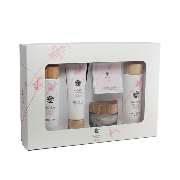 Kit cosmética Naobay, incluye: Leche limpiadora, Mascarilla recuperadora, Crema hidratante y Tónico (solo hoy)