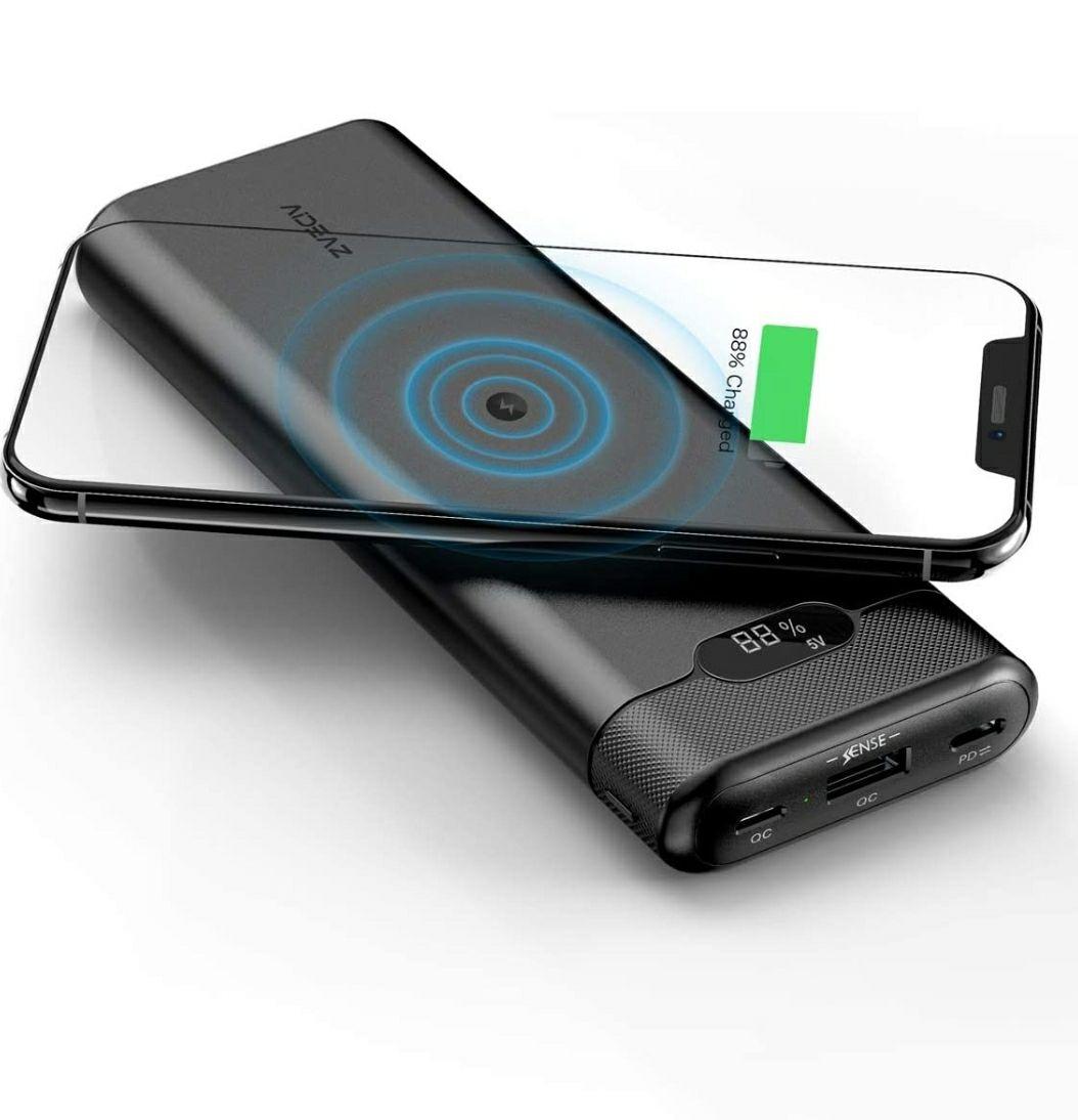 AIDEAZ Batería Externa 20000mAh Powerbank con Cargador inalámbrico