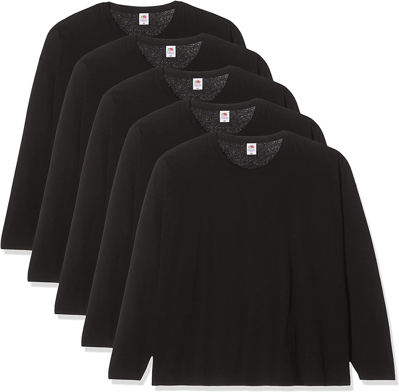 Fruit of the loom pack 5 camisetas color negro manga larga talla M