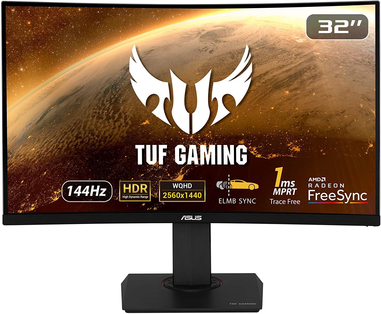 ASUS TUF Gaming VG32VQ - Monitor 32 Pulgadas (WQHD 2560x1440, 144 Hz, Extreme Low Motion Blur Sync, Adaptive-Sync, FreeSync, 1 ms, HDR10)