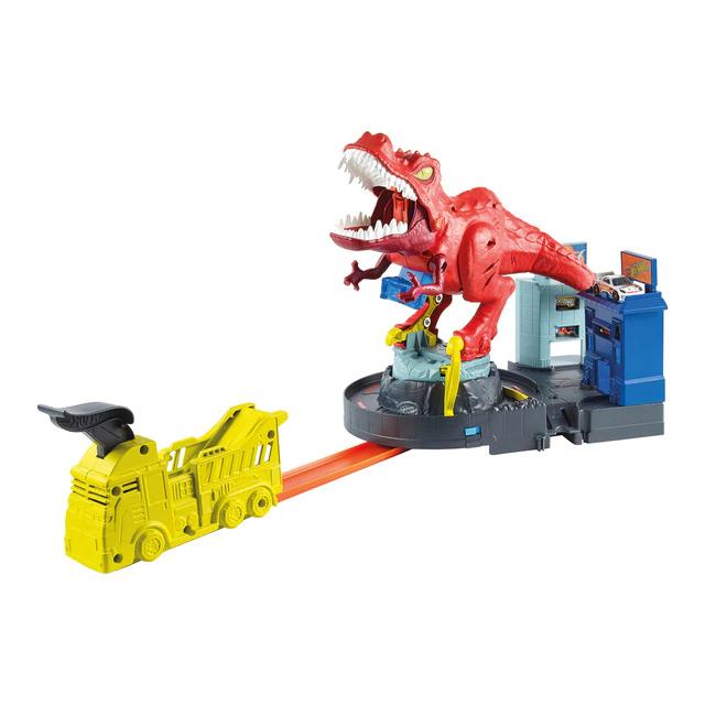 Hot Wheels City Alboroto del dinosaurio T-Rex, pistas de coches de juguete Mattel