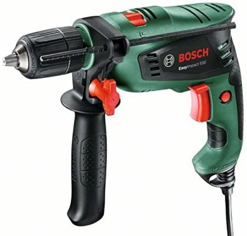 Taladro percutor Bosch de 550 W con empuñadura adicional, tope de profundidad y maletín