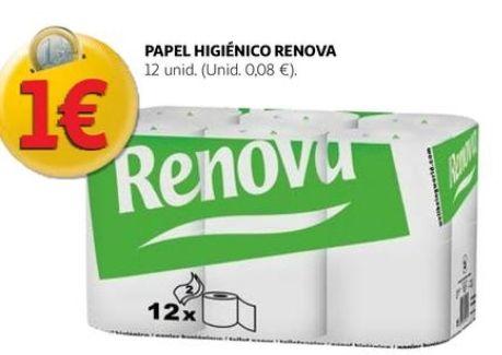 12 ud Papel higiénico Renova 2capas sólo (0'08€ud)