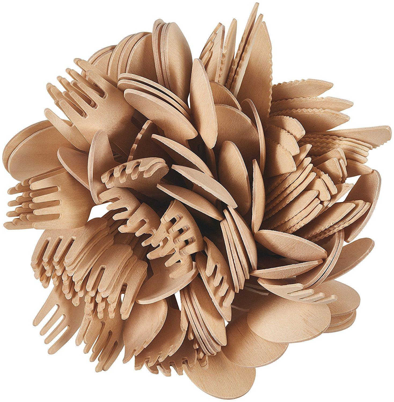 Cubiertos desechables de madera. 200 piezas.