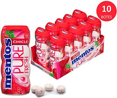 Mentos Chicle Fresa, Sin Azúcar - 10 unidades de 30 gr/ud