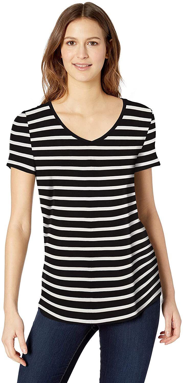 Camisa de manga corta con cuello en V para mujer, a rallas blancas y negras, talla XS-S, con código