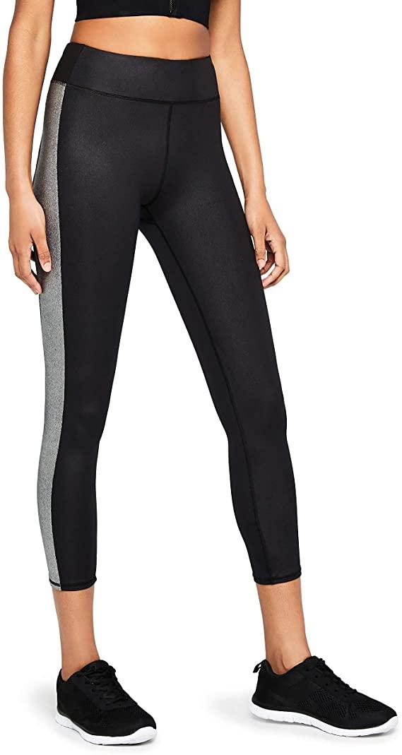 Marca Amazon - AURIQUE Glitter Side Stripe - Mallas de entrenamiento