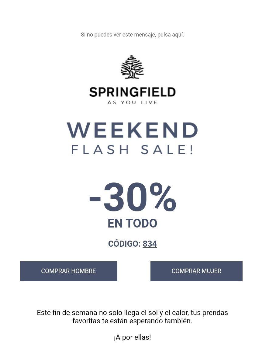 30% en colección primavera/verano Springfield (o 25% en colección mujer)