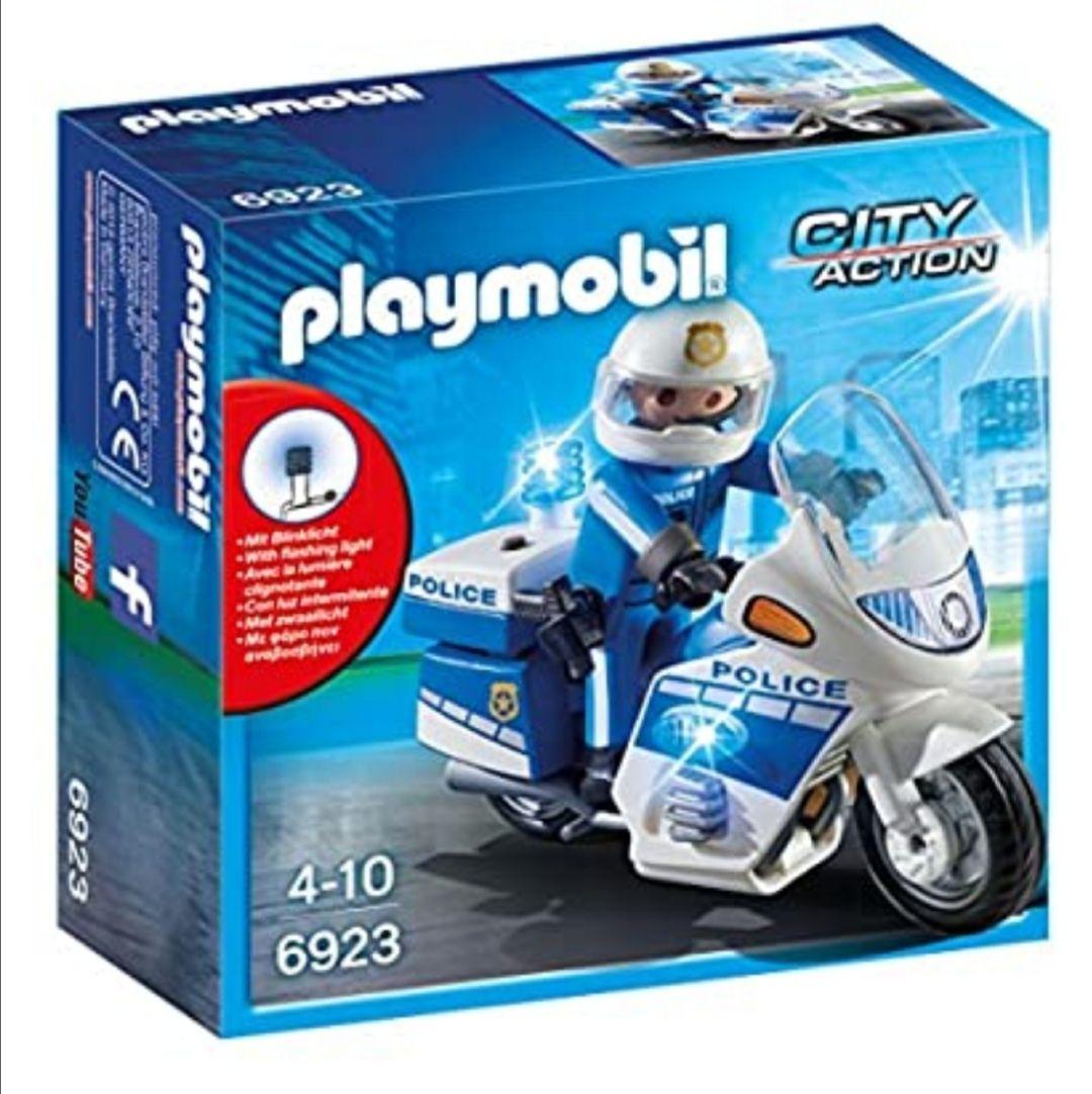 PLAYMOBIL City Action Policía con Moto y Luces LED, A partir de 5 años