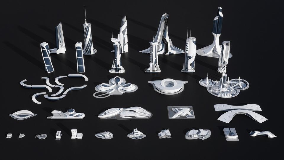 Kitbash - Kit 3D de Utopía (Ciudad futurista)