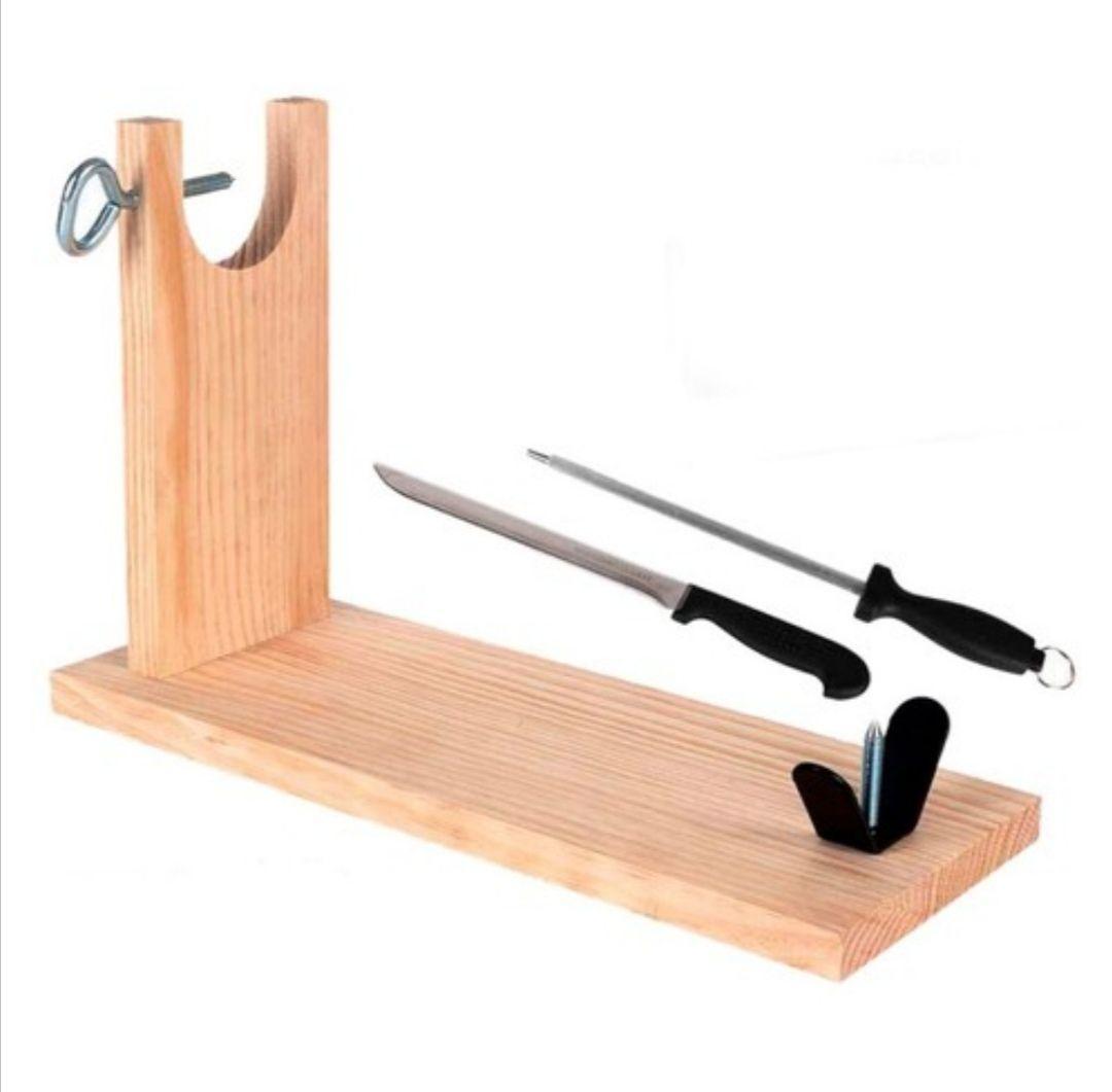 Set Jamonero, cuchillo y afilador